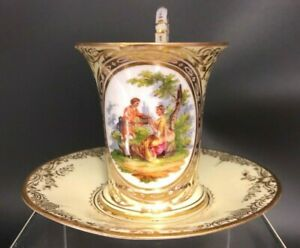 Richard Klemm Dresden Portrait Scene chocolate cup and saucer  Germany