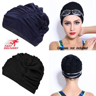Ladies Women Swimming Pool Hat Turban Swim Cap Swim Sleeve Bands Adult Shower