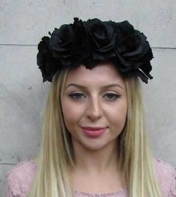 Large Black Halloween Day of the Dead Rose Flower Headband Sugar Skull Hair 4353