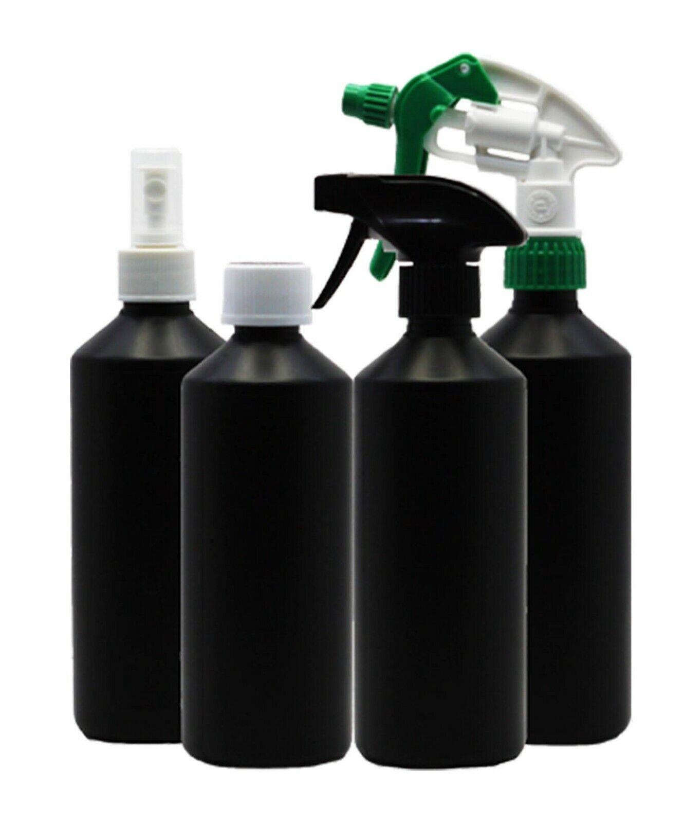 HDPE 500ml Bottles - Black - Empty Bottles With Optional Spray Heads - 5 Pack