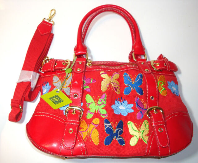 Oilily Red W Multi Color Embroid Erflies Flowers Crossbody Shoulder Handbag