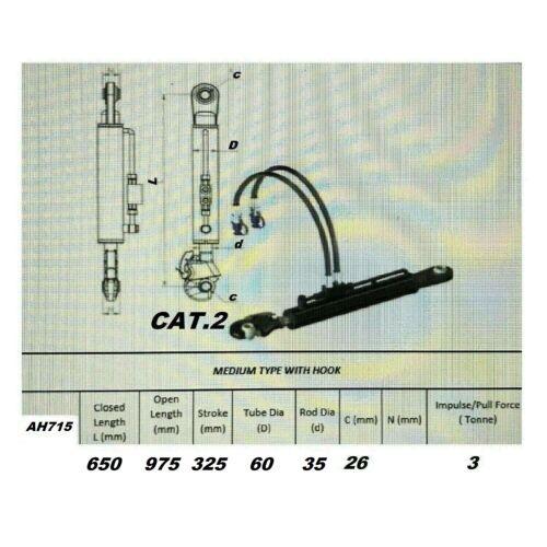Hydraulischer Oberlenker kat2 mit Fanghaken 2x Hydraulikschlauch//Sperrblock