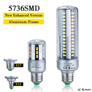 e27 e14 led 5736smd mais birnen 85 265v hohe lumen aluminium rahmen lampen licht ebay. Black Bedroom Furniture Sets. Home Design Ideas