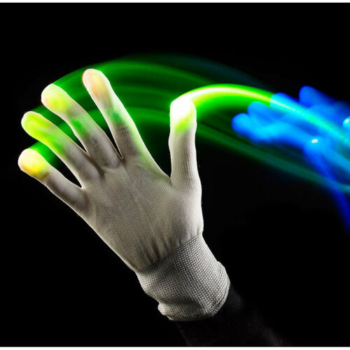 Größe S Weiße LED-Disko-Handschuhe mit 6 Leuchtprogrammen Leucht Handschuhe