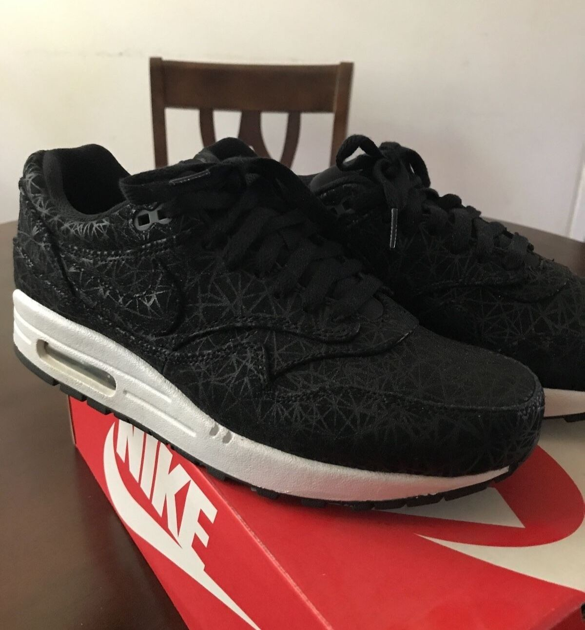 NIKE AIR MAX 1 PRM PREMIUM GEOMETRIC BLACK/DARK GREY SIZE 8