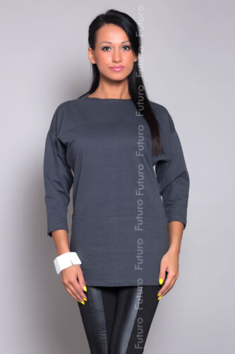 Women/'s casual top pull col bateau tunique chemisier manches 3//4 taille 8-12 8381