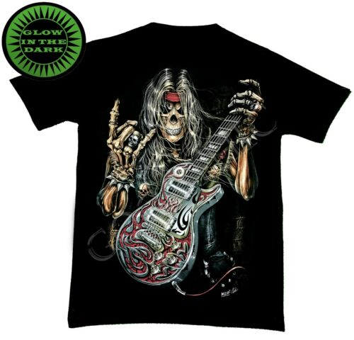 Wild Glow In The Dark T Shirt Electric Guitar Rocking Out Red Skull