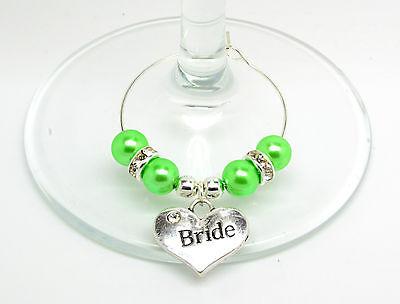 Perla Verde Matrimonio Personalizzato Famiglia Tavolo Festa Bicchiere Di Vino Charms-