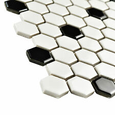 "10.25x11.75""  Hex White/Black Dot Porcelain Mosaic Tile 10 Pack Vintage Floor"