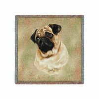 Pure Country 1130-ls Pug Pet Blanket Canine On Beige Background... Free Shipping