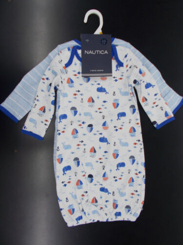 Infant Boys Nautica $42 2 Pack Gowns Size 0//6 Months