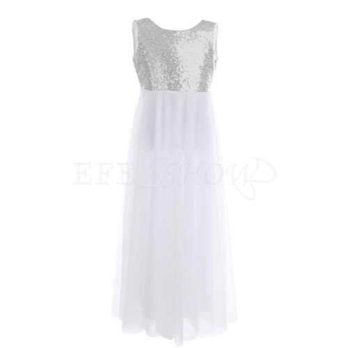 Sequins Flower Girl Dress Party Wedding Princess Dancing Age 3-14 Kids Pageant