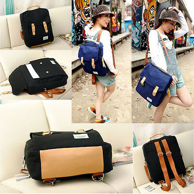 New Fashion Women's Canvas Travel Satchel Shoulder Bag Backpack School Rucksack