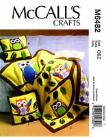 McCall's Pattern 6482 Owl Themed Pillow and Quilt applique throw owls blankets Craft Supplies