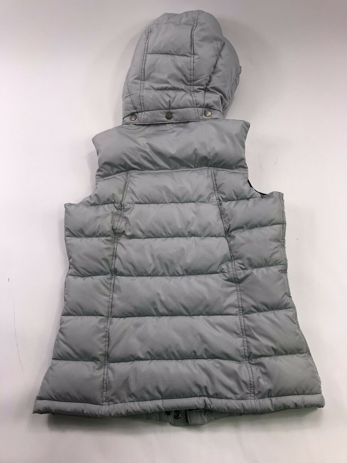 Barbour Moors Down Vest Hooded Quilted Grey 6 Sma… - image 5
