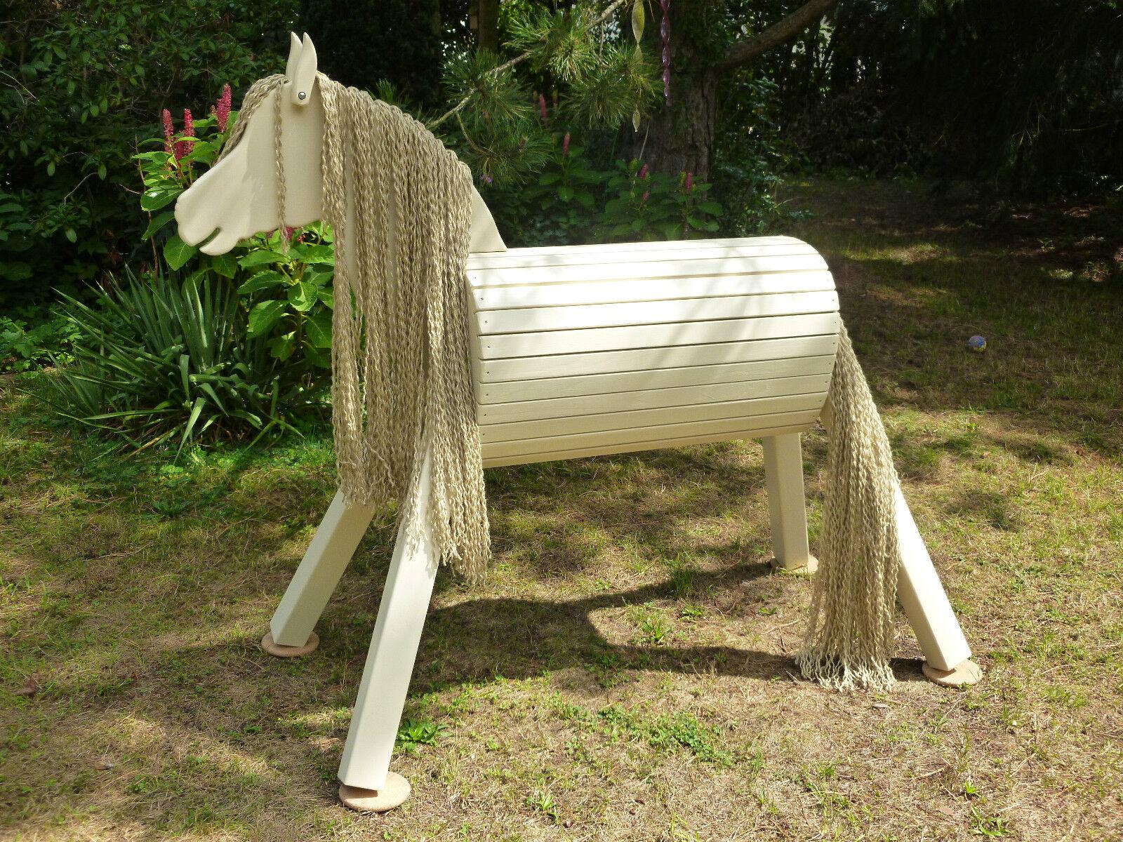 90cm Holzpferd Holzpony Voltigierpferd Spielpferd Pferd Pony beige NEU mit mit mit Maul 43dded