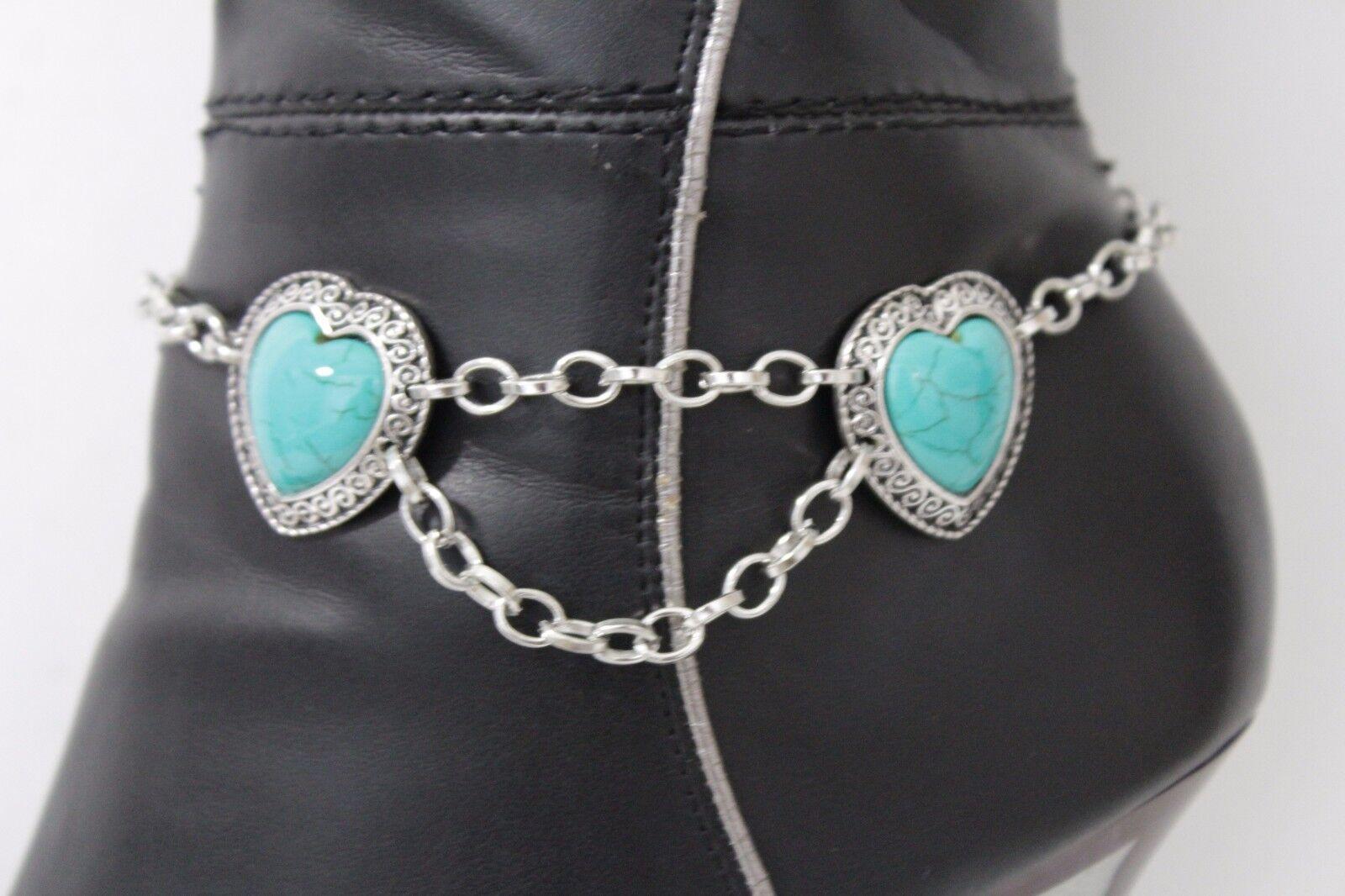 Women Silver Chain Boot Bracelet Anklet Heel Shoe Blue Hearts Bead Charm Jewelry