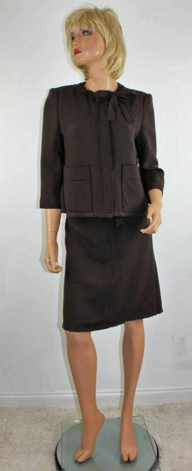 TULEH Brown Wool Silk Lined Skirt Suit Size 10