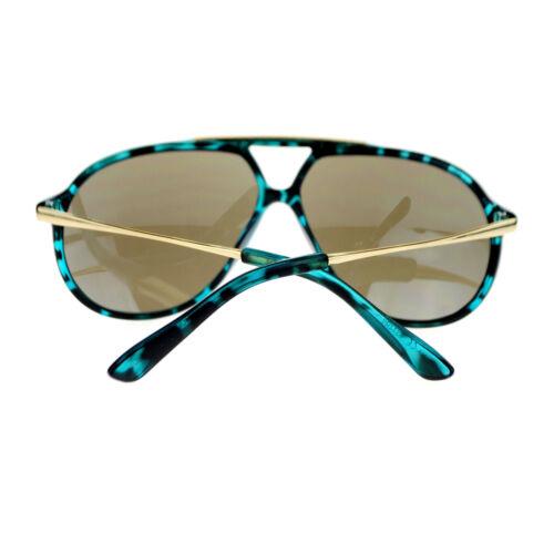 Mens Retro Racer Thin Plastic Frame Color Mirror Lens Aviator Sunglasses