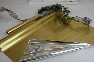 Tischläufer 5m Folie Gold Silber 60cm oder 30cm  Weihnachten Silvester Tischdeko