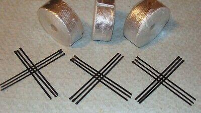 """Exhaust Wrap V8 90/' x 2/"""" 3 Rolls 30/' Exhaust//Header Wrap Kit 18 Ties 50//100//16"""
