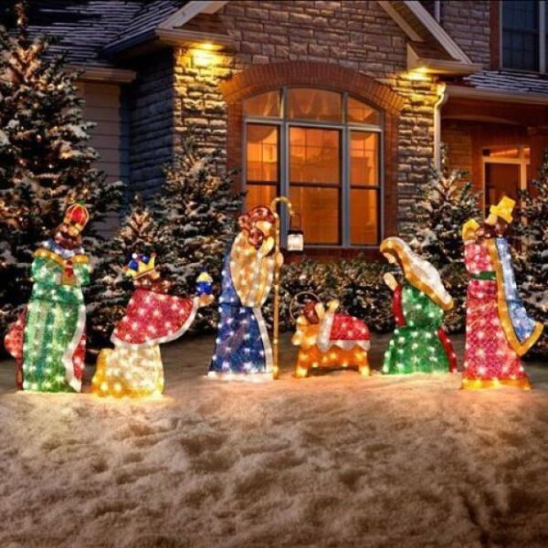 2571bcbad6d Nativity Scene Holy Family Outdoor Christmas Yard Decoration Lighted  Display 6pc for sale online