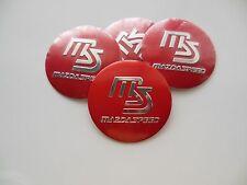 MAZDA SPEED WHEEL CENTER CAP  EMBLEMS SET 4 ALUMINUM STICKERS DECAL 3D RED