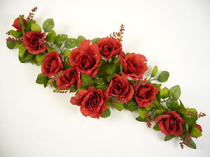 Image Is Loading Artificial Silk Flowers Dew Drop Rose Table Centrepiece