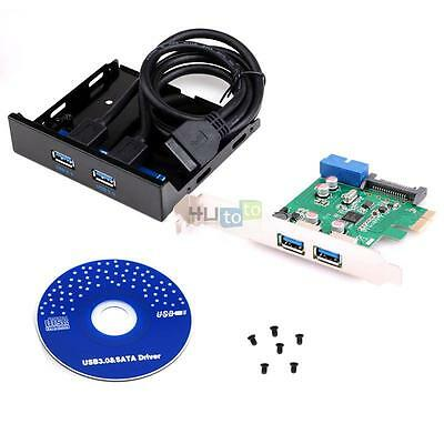 """USB 3.0 2-Port PCI Express Card Adapter USB 3.0 3.5"""" Front Panel Expansion Bay"""