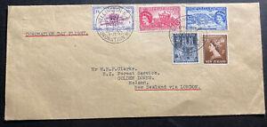 1953-Wellington-New-Zealand-First-Day-Cover-Queen-Elizabeth-II-Coronation-QE2-C