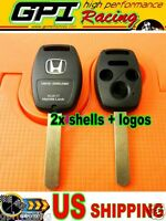2x Blade Keyless Remote Shell Case Key For Honda 3+1 Buttons