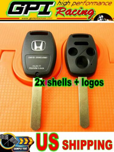 2XNEW Blade Replacement Keyless Remote Shell Case Key FOB for Honda 3+1 Buttons