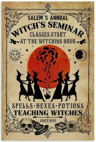 Salem/'s Annual Witch/'s Seminar Vintage Gothic Girl Magic Witch Home Wall Poster