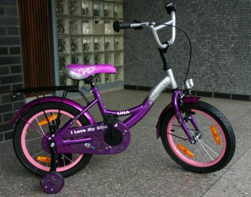 16 Zoll Kinderfahrrad Rücktritt Kinderrad Stützrad Fahrrad Lila Alufelgen Lina