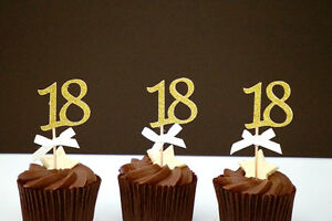 Image Is Loading 18th Birthday Cupcake Toppers Number 18 Party Cake