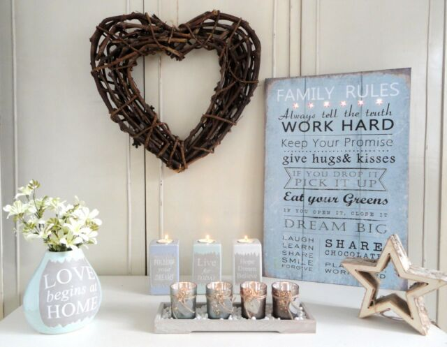 Shabby Chic Home Accessories Family Rules Tealight Vase Wicker Heart Ornament