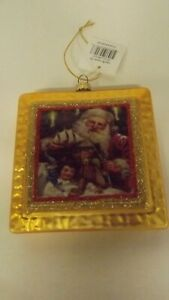 New Glass Square Shape Ornament Santa With Toys Mint with Tag