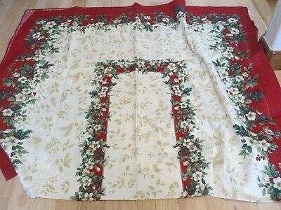 Christmas Tablecloth Rectangle Jacquard Red Green Gold Holly Ivory Floral Ebay