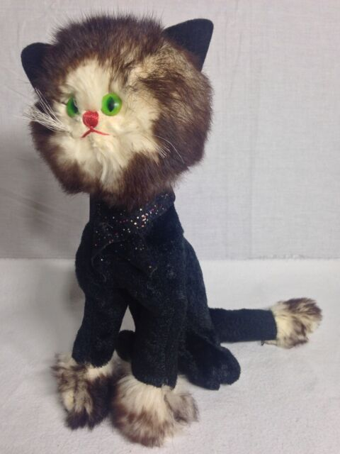 Vintage Antique Black Cat Stuffed Animal Fur Velvet Handmade