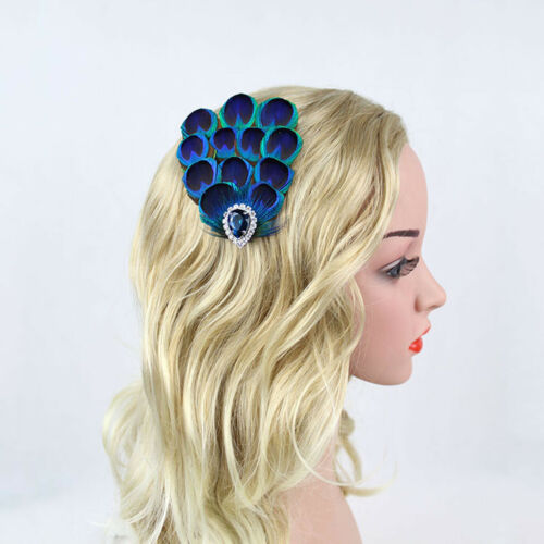Race Party Peacock Feather Fascinator Headband Clip Hair Jewelry Carnival