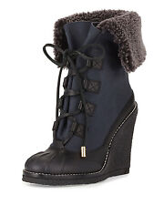 TORY BURCH SALE Fairfax Lamb Shearling Fur Wedge Duck Winter Boot Black Blue 5