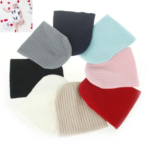 Qu/_ BL/_ Infant Kids Newborn Baby Winter Warm Ribbed Beanie Soft Knitted Hat Cap