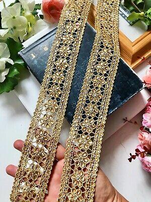1 Yard Latest Indian Gold Zari Cutwork Champagne Stone Sari Dupatta  Lace Trim