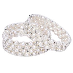Kristall-Perle-Multilayer-Breite-Elastische-Manschette-Armband-Armreif-ArmVE-xj