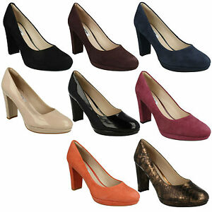 Details zu Ladies Clarks Kendra Sienna High Heeled Fashion Shoes