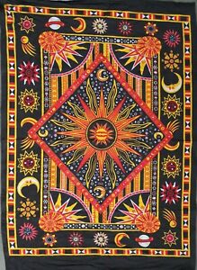 Indian Mandala Poster Hippie Blue Cotton Tapestry Wall Hanging Astrology Zodiac