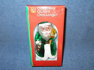 """1998 YULETIDE TRADITIONS 6 1/2"""" GLASS SANTA CLAUS CHRISTMAS ORNAMENT IN BOX NICE"""