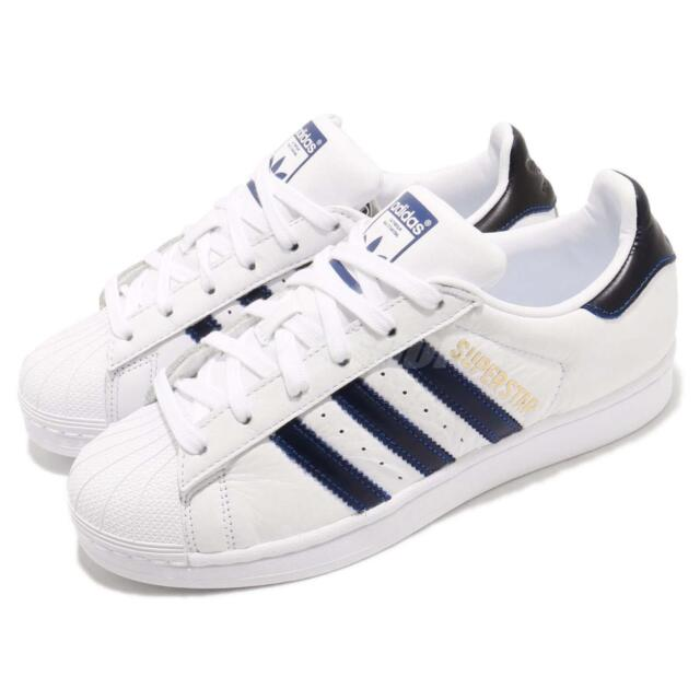 adidas Originals Superstar White Navy Blue Men Casual Shoes Sneakers B41996