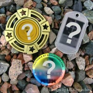 Three-3-Random-amp-Unactivated-Geocaching-Trackables-Geomedal-Dog-Tag-Button
