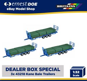 3x BRITAINS Kane Bale Trailer 1:32 Diecast Farm Vehicle 43218 DEALER BOX SPECIAL
